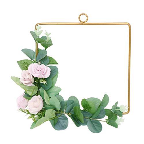 æ— Coronas artificiales de 9 pulgadas, marco de corona de metal geométrico con verde y flores, coronas de eucalipto hechas a mano para colgar en la pared