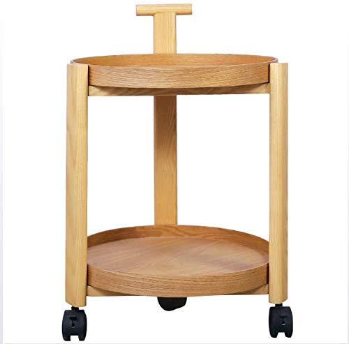 XUSHEN-HU Mesa auxiliar de sofá con ruedas, mesa auxiliar de madera, mesa auxiliar para sala de estar, dormitorio de 2 niveles