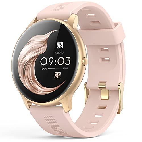 Smartwatch, AGPTEK 1,3 Zoll Armbanduhr mit personalisiertem Bildschirm, Musiksteuerung, Herzfrequenz, Schrittzähler, Kalorien, usw. IP68 Wasserdicht Fitness Tracker Uhr, für iOS und...