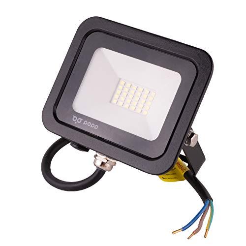POPP juegos de 5 y 10 Floodlight Led Foco Proyector Led 10w 20w 30w para Exterior Iluminación Decoración 6000k luz fria Impermeable IP65 Negro y Resistente al agua. (Focos 20 Watios, 1 unidad)