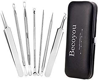 Becoyou 7 Pcs Pimple Popper Tool Kit, Stainless Steel Blackhead Remover Tool Blackhead Removal Tool Pimple Popping Kit Comedone Pimple Extractor Kit Zit Popping Kit with Leather Bag