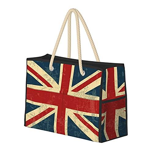 Bolsa de playa grande y bolsa de viaje para mujer – Bolsa de piscina con asas, bolsa de semana y bolsa de noche – Union Jack Vintage Faded