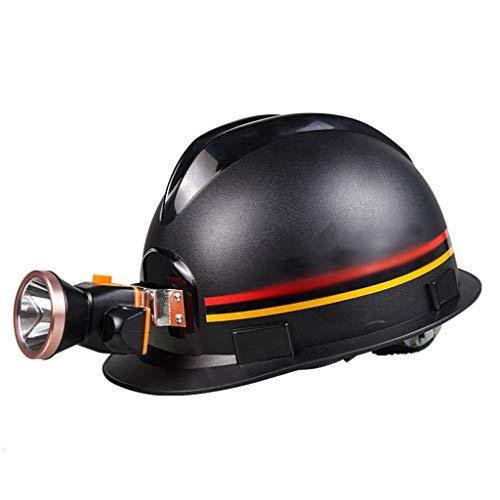 CLYANQM Casquillo para Minero con Faro De Carga ABS Ingeniería Mina De Carbón Trabajo Subterráneo Punción Casco Protector con Lámpara De Minero LED, Negro (Design : C)