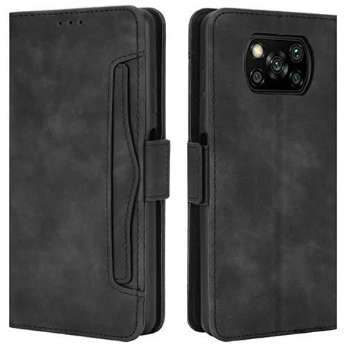 HualuBro Handyhülle für Xiaomi Poco X3 NFC Hülle, Poco X3 Pro Hülle Leder, Flip Hülle Cover Stoßfest Klapphülle Handytasche LederHülle Schutzhülle für Xiaomi Poco X3 NFC Tasche (Schwarz)