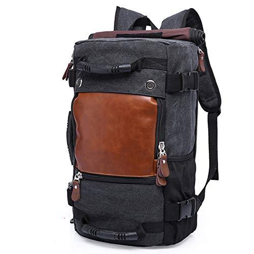 MAOZAO Retro Canvas 40L Travel Backpack Men and Women Large Capacity Luggage Bag Shoulder Bag Backpack Waterproof Laptop Backpack School Bag,Black
