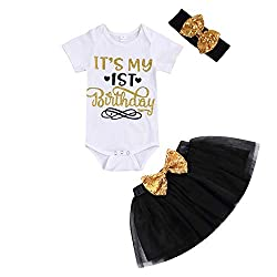 Black 1st Birthday Shiny Printed Sequin Bowknot Tutu Dress