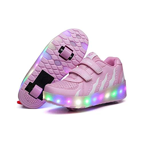 Zapato De Patinaje De Rodillo Zapatos para Niños Niña Luz Lámpara Zapatos para Niños con 2 Ruedas Botón De Monopatín Ajustable,Pink-36 EU