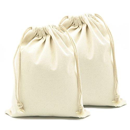 Yingkor 100% Cotton Canvas Muslin Drawstring Bags 2-pack 24x32cm