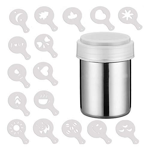 Mopoin Edelstahl Powder Shakers, Mesh Shaker Pulver Dosen mit Deckel Kakao-Streuer mit 16 Stück Druckformen Schablonen für Küche, Kaffee, Kakao, Dessert
