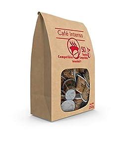 SABOREATE Y CAFE THE FLAVOUR SHOP - Cápsulas de Café Intenso - Compostables y Biodegradables - 50 unidades