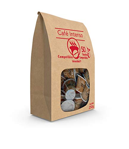 SABOREATE Y CAFE THE FLAVOUR SHOP - Cápsulas de Café Intenso - Compostables y Biodegradables - 50 unidades
