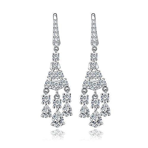ZHWM Earrings Hoops Studs Pendientes colgantes de cristal Cz para la boda de la fiesta de novia accesorios gancho Brincos moda oro blanco joyería de vacaciones