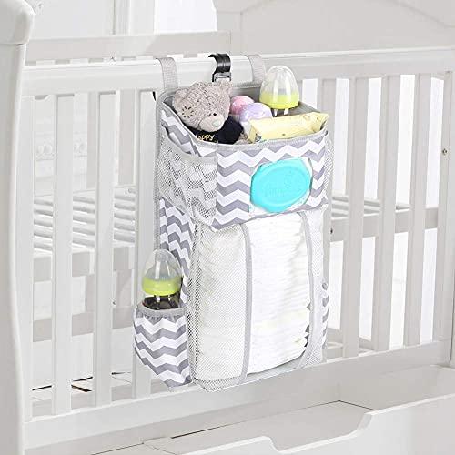 Hanging Crib Organizer, Windel Organizer, Babybetttasche Kinderbett-Hängetasche,Multifunktionale Nachttischtasche zum Aufhängen für Hängen auf Babybett, Auto, Wickeltisch (Welle)