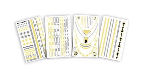 Hot Jewels Metallic Temporary Tattoos set of 4 sheets Classic by Allstar