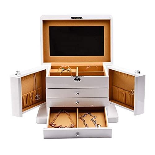 JIANGCJ Bella Jewelry Box Organizer Joyas de Madera Cofre para Collar Anillo Pulsera Joyería Caja Organizador