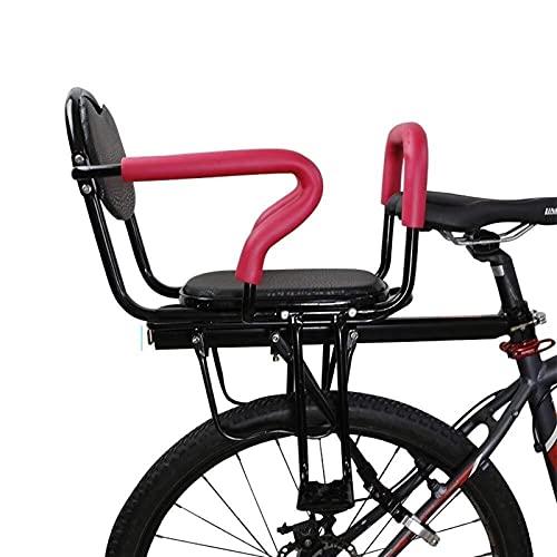 GYYlucky Asiento trasero de bicicleta para niños, asiento de bicicleta para niños, con respaldo de cojín, pedales de pie y reposabrazos, para asiento de niño de 2 a 8 años