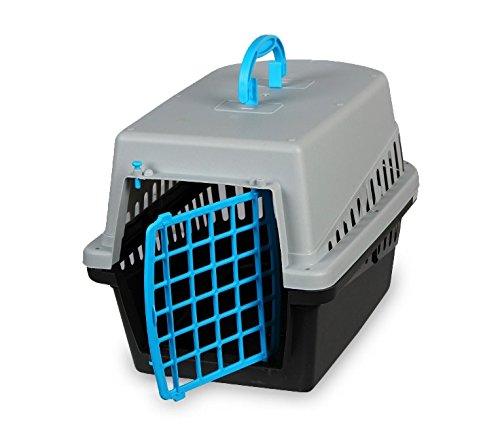 MEDIA WAVE store 10570 Trasportino con griglia in plastica per Cani e Gatti da Viaggio 50 cm (Azzurro)