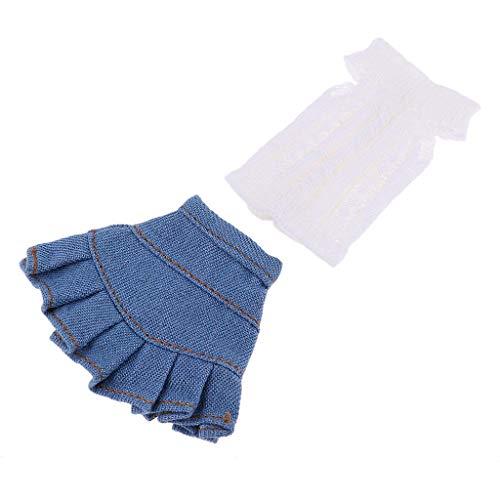 YZLSM Fashion Strickpullover Anzug Dress Up für 1/6 Blythe Licca OB Puppe Top und Rock für Kinder Rollenspiele White & Blue -Dolls & Accessoires> Mode Puppen & Zubehör> Bekleidung und Schuhe