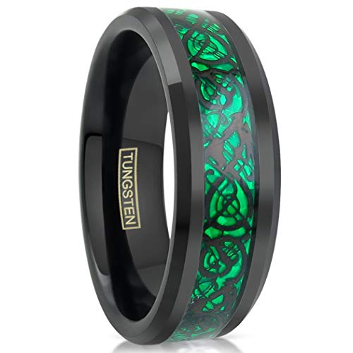 Exquisite 8mm Black Tungsten Ring w/Black Celtic Dragon Inlay on Kelly Green Background. (Tungsten (8mm), 10)