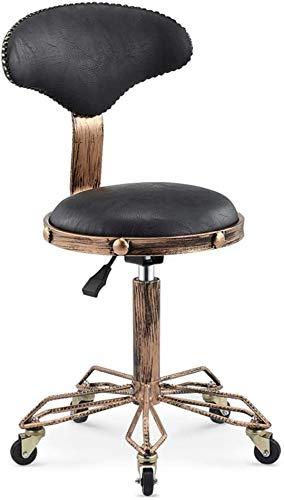 DNNAL Salón de Silla Taburete, Elevación Ajustable balanceo Taburete con Respaldo para peluquería Peluquero Ministerio del Interior Tatuaje,Negro