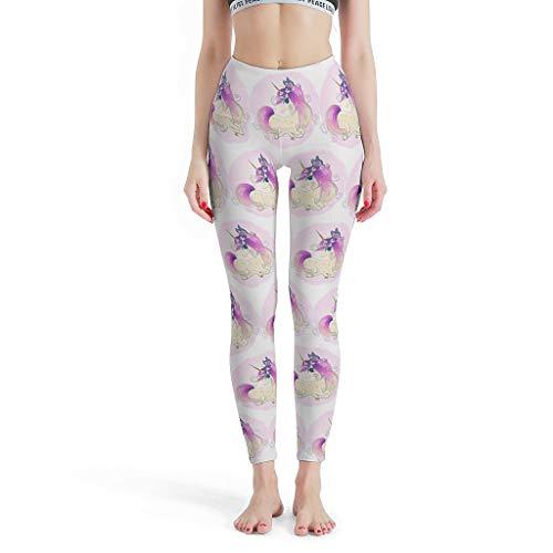 Gamoii - Leggings de Yoga para Mujer, diseño de Mariposas y Unicornio, impresión 3D, Pantalones de Deporte, Pantalones de Yoga, Cintura Alta, opacos, Leggins Blanco XXXL