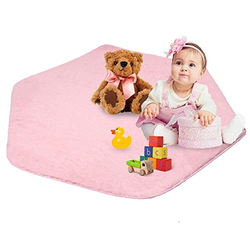 Monobeach Hexagon Coral Rug for kids play tent Mat Soft Cushion for girls Princess Tent Velvet Carpet for teepee Nursery Children Baby Game Climbing Blanket for Playhouse Pad (Pink)