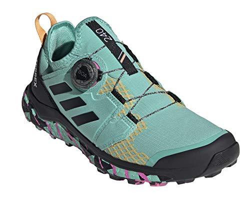 adidas Women's Terrex Agravic BOA Trail Running Shoe, Acid Mint/Core Black/Screaming Pink - 8