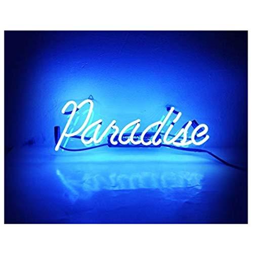 Paradise Neonschild LED Schild, für Zuhause, Schlafzimmer, Pub, Lampe Nachtlicht, Raumdekoration für Zuhause, Schlafzimmer, Bierbar,Hotel, Geschäft, Strand Erholung, Spielzimmer35.5CM×15CM (Blau)