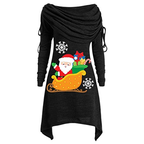BOLANQ Weihnachtsbluse Plus Size Womens Fashion Solid Geraffte Lange Foldover Kragen Tunika Top Bluse Tops(Medium,Schwarz)