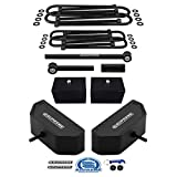 Supreme Suspensions - Full Lift Kit for 1999-2004 Ford F250 / F350 Super Duty 4x4 4WD 3.5' Front + 3' Rear Lift Blocks with 2 Sets of Extended U-Bolts + Anti-Wobble Adjustable Track Bar (Black)