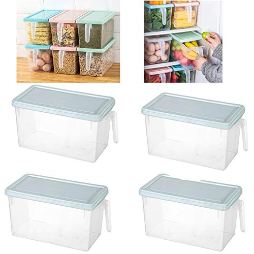 YATG Cesta del refrigerador,4PCS Cesta de almacenamiento para frigorífico Contenedores organizadores de almacenamiento de cocina con asa y tapa