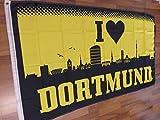 Fanshop Lünen Fahne - Flagge - Dortmund - Herz I Love - 90x150 cm - Hissfahne mit Ösen - Skyline -