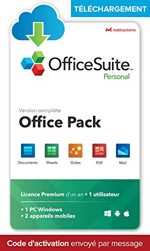 OfficeSuite Personal - TÉLÉCHARGEMENT - Word®, Excel®, PowerPoint® et avec PDF pour PC Windows – 1 PC; 2 appareils mobile / 1 utilisateur / 1 an d'abonnement
