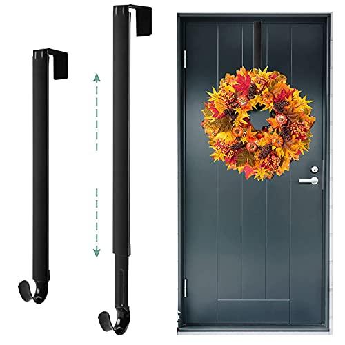 """Kederwa Adjustable Wreath Hanger Black, Extends from 15.5"""" to 25.5"""", Front Door Wreath Hanger for Autumn Halloween Christmas Wreath Decorations"""