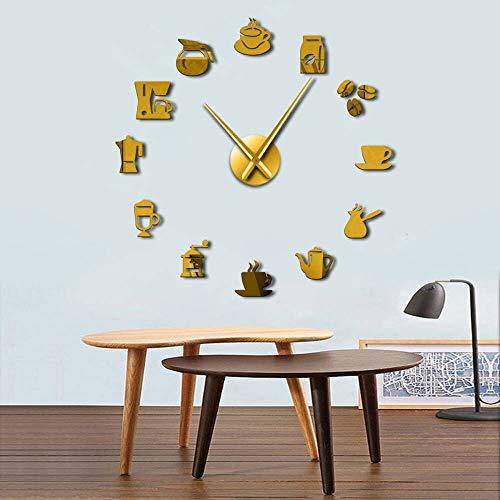 Coffee logo size adjustable wall clock modern design kitchen clock acrylic mirror sticker coffee bean clock 27inch