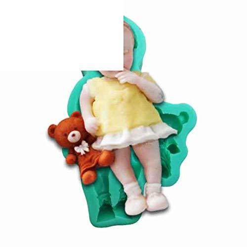 DACCU 2 Style 3D bébé Sucre gâteau de Silicone Moule bébé garçon et Fille Chocalate Silicone Moule bébé et Ours de Lapin Animal, F0843BB