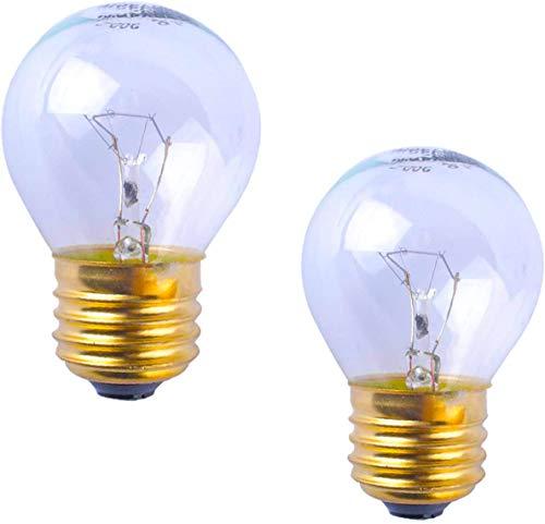 Oven Llight Bulb 40W High Temp, 110V-120V Clear Glass Light Bulb E27/E26 G45 Medium Brass Base 400 Lumens (Pack of 2) Appliance Light Bulb
