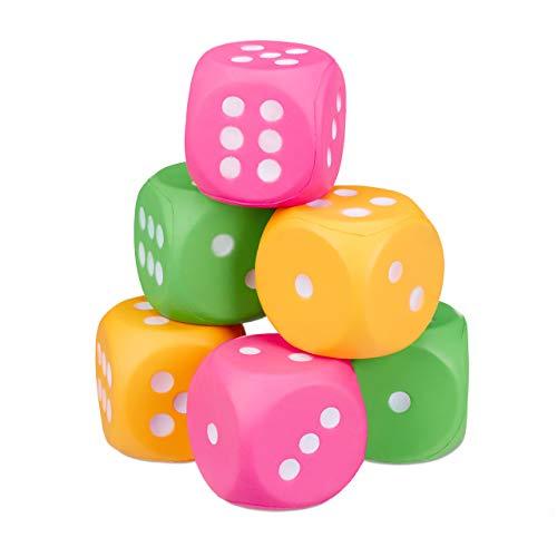 Relaxdays Dadi Giganti, Set da 6 Cubi in Gommapiuma, XXL, Giocattolo per Bambini, Morbido e Leggeri, Cubici, Colorati