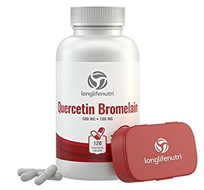 Quercetin 500mg with Bromelain 100mg 120 Vegetarian Capsules | Natural Anti Inflammatory Antioxidant Supplement | Allergy Relief Complex | Heart Health | Dihydrate Pure Powder Extract Cap 500 mg Plus