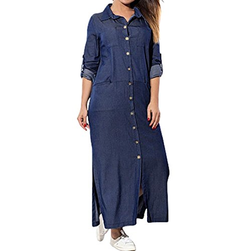baskuwish Women's Solid Color Pocket Long Sleeve Denim Dress Swing T-Shirt Long Sleeve Dress (Navy, 5XL)