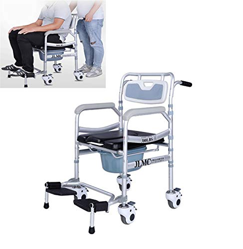 JHKGY Deluxe Collapsible Wheeled Shower Commode Toilet Chair, Shower...