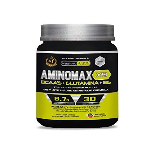 Aminoacidi ramificati essenzial con BCAA + glutammina + vitamina B6 | Integratore sportivo per aumentare la massa muscolare | Con leucina, isoleucina e valina | 30 dosi al gusto di anguria