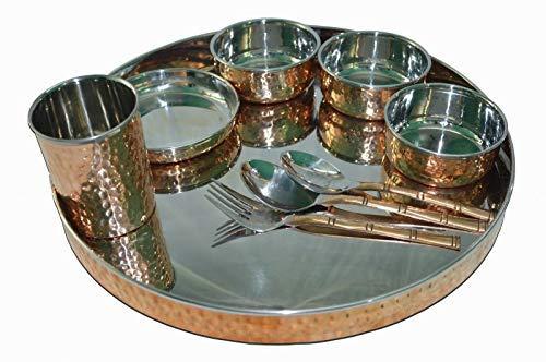 TreegoArt Juego de vajilla de acero de cobre Thali, cuencos, plato halwa, cuchara, tenedor, cristal, estilo tradicional, 9 piezas, diámetro de Thali 33 cm