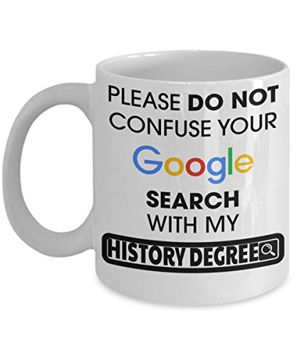 Best History Teacher Gifts - Funny History Teachers Mug - Please Do Not Confuse Your Google Search With My History Degree White Mug