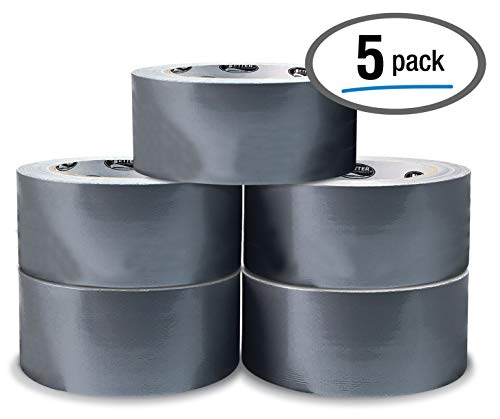 5 Pack Silver Heavy Duty Duct Tape by Better Office Products, 7.3mil, 1.88 Inch x 30 Yards Per Roll, Easy Tear, 5 Pack, Silver