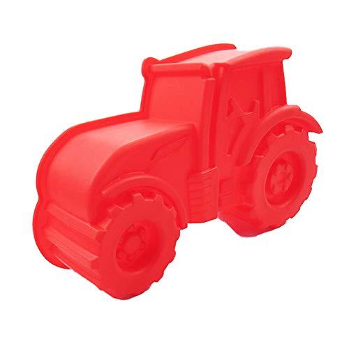 NALCY Backform Traktor, Rote Kuchenform Zum Backen für Kindergeburtstag, Silikonform, Bulldog Motivform, Silikontraktor für Kuchen, EIS, Schokolade, Brot, Dessert Pudding