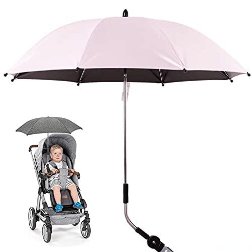 Pateacd Sombrilla para Cochecito, Paraguas Universal 50+ UV para protección Solar para bebés y bebés con Mango de Paraguas para Cochecito, Cochecito y Cochecito,Rosado