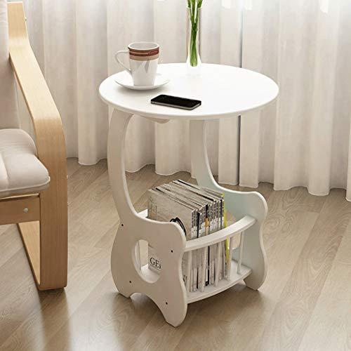 Table d'appoint Double Table Basse Ronde en Bois Massif Blanc Etagère de Chevet Porte-revues Salon Sofa Chambre d'étude Terrasse