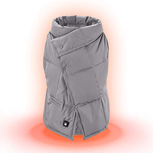 Manta Electrica Espalda y Cuello, Qfun 120 * 80cm Chaleco Calefactable Eléctrica con 3 Niveles de Temperatura, Chalecos de Invierno Cálidos para Caza, Exteriores, Camping (Sin Batería)