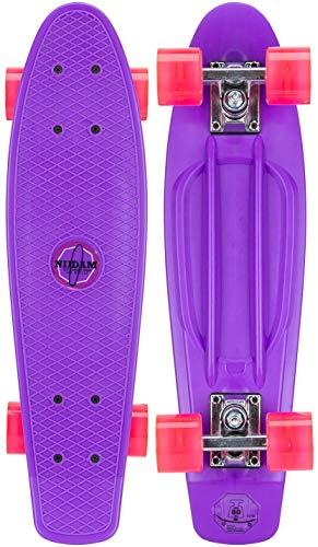 Nijdam kinderen plastic skateboard 22,5 ' LED-wielen Purper/Fuchsia